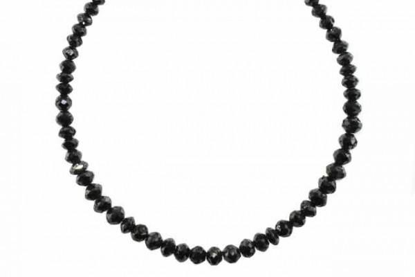 Rondellenstrang facettiert 3,7-5mm/26cm, schwarzer Diamant A