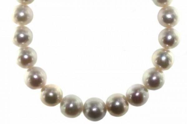 Perlenstrang 90% rund 11-13,2mm/40cm, Süßwasserzuchtperle weiß