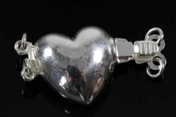 Herz-Schließe 13mm 2-reihig, AG 925 poliert