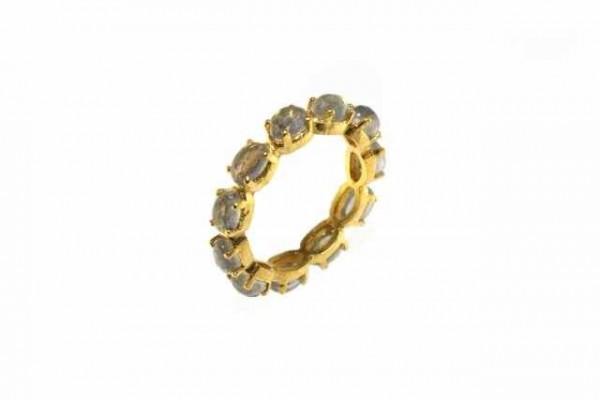 Ring Größe 56, 18k Gelbgold mit 11 facettierten Labradorit-Ovalen