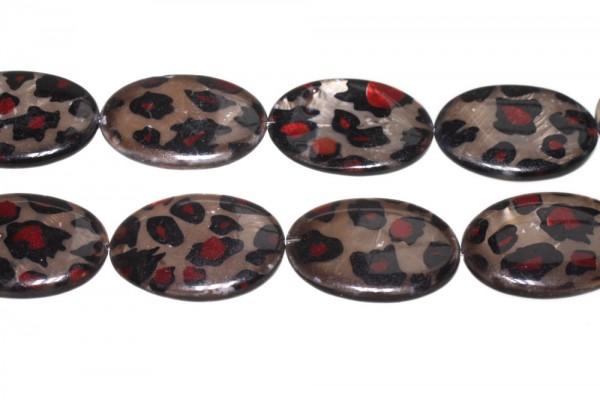 Ovalstrang 25x35mm/38cm, Perlmutt mit Leoparden-Muster bedruckt