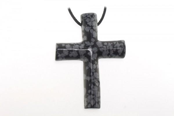 Kreuz 42x60mm 4mm-Loch, Schneeflocken-Obsidian