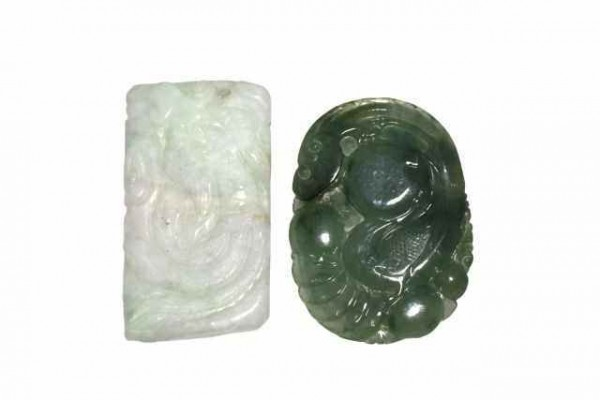 Amulett Phönix 33x47mm, Burma-Jade A